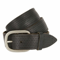 Tulliani Perforated Edge Stitched Belt - Black