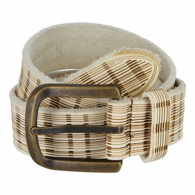Tulliani Plaid Illusion Belt with Brass Buckle - Cream
