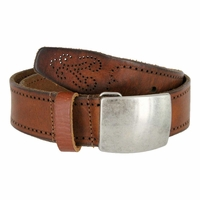 Tulliani Quadrato Perforated Edge Tooled Leather Belt - Tan