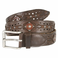 Tulliani Studded Diamond Tooled Belt - Brown