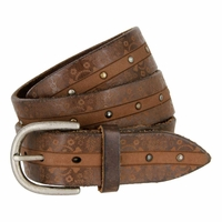 Tulliani Studded Flaming Skull Belt - Brown