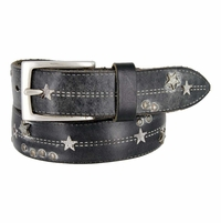 Tulliani Studded Stars and Stitches Belt - Black and White