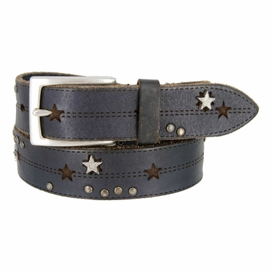 Tulliani Studded Stars and Stitches Belt - Blue and Black
