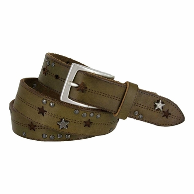 Tulliani Studded Stars and Stitches Belt - Green and Brown