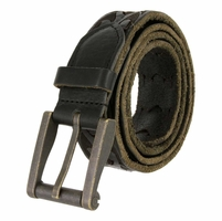 Tulliani Tooled Links Belt with Roller Buckle - Black