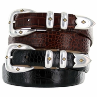 Tuscon Gold Mens Italian Calfskin Genuine Leather Designer  Belt