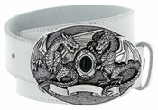 Twin Dragons Belt Buckle Casual Jean Leather Belt