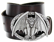Vampire Bat Buckle Casual Jean Leather Belt