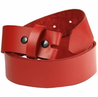 "Vibrant Red Genuine Leather Belt Strap 1 1/2"" Wide *Made in US*"