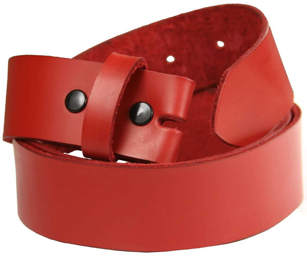 Vibrant Red Full Grain Genuine Leather Belt Strap Made in U.S.A