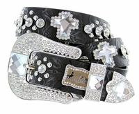 Victoria's Western Embossed Crystal Cross Leather Belt-Black