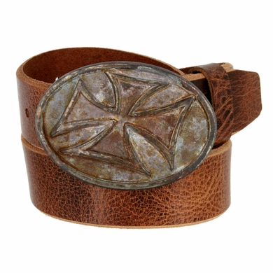 "Vintage Copper Cross Buckle Genuine Full Grain Leather Belt 1-1/2"" Wide"