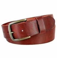 "Vintage Full Grain Cowhide Leather Casual Jeans Belt 1-1/2"" Wide BS40-JT11082 - Burgundy"