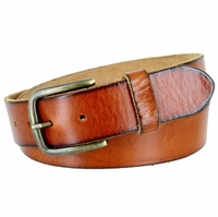 "Vintage Full Grain Cowhide Leather Casual Jeans Belt 1-1/2"" Wide BS40-JT11082 - Tan"