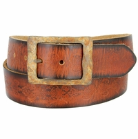 "Vintage One Piece Full Leather Tooled Engraved Casual Jean Belt 1-1/2"" Wide"