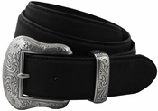 "Western 7's Antique Silver Buckle Set Cowhide Belt 1-1/2"" Wide"