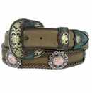 Western Belt Berry Concho Scalloped Leather Belt