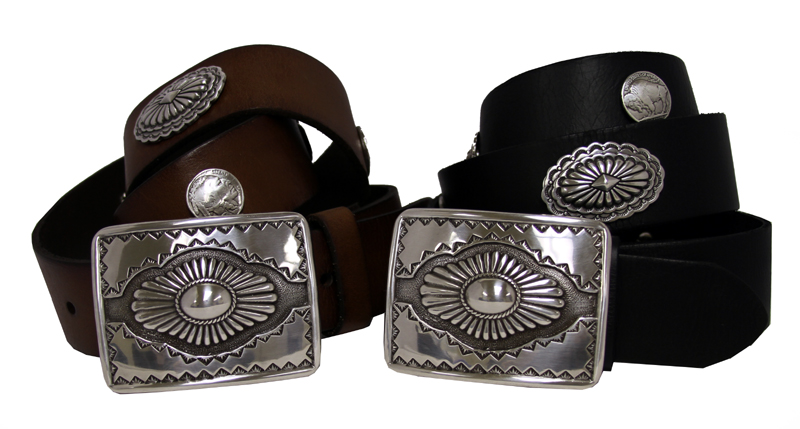 western biker concho studded grain leather belt 1 1 2