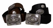 "Western Biker Concho Studded Full Grain Leather Belt 1 1/2"" Wide"