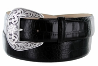 "Western Buckle Italian embossed Calfskin Leather Belt 1-1/2"" wide - Black"