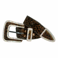 Western Cowgirl Crystal Bling Hair on Rhinestone Leather Belts