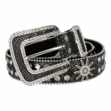 Western Cowgirl Crystal Bling Lizard Alligator Rhinestone Leather Belts