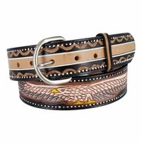 """Western Eagle Embossed Laced Genuine Leather Casual Jean Belt 1-1/2"""" wide"""