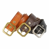 Western Engraved Buckle with Full Grain Woven Braided Leather Belt