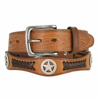 Western Floral Embossed and Braided Leather with Antique Nickel Star Conchos