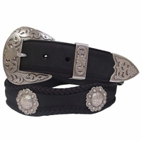 Western Fort Worth Western Mens Saddle Berry Concho Belt