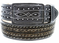 "Western Horse Hair With Stitched Leather Covered Buckle Belt 2"" Wide-Black"