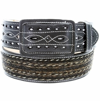 """Western Horse Hair With Stitched Leather Covered Buckle Belt 2"""" Wide - Black"""