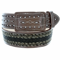 """Western Horse Hair With Stitched Leather Covered Buckle Belt 2"""" Wide - Brown"""