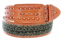 "Western Horse Hair With Stitched Leather Covered Buckle Belt 2"" Wide-Tan"