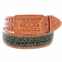 """Western Horse Hair With Stitched Leather Covered Buckle Belt 2"""" Wide - Tan"""