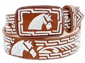 "Western Horse Head Leather Covered Stitched Buckle Belt 1-3/4"" Wide"