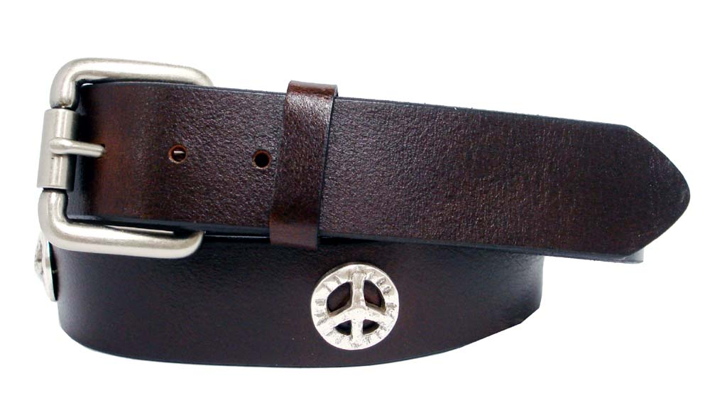 western peace sign conchos grain leather biker belt