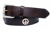 Western Peace Sign Conchos Full Grain Leather Biker Belt $32.95