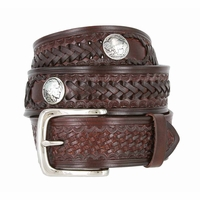 Western Scorpion Hand Woven Leather Belt Nickel Plated Indian and Buffalo Coin Conchos - Brown