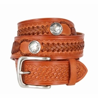 Western Scorpion Hand Woven Leather Belt Nickel Plated Indian and Buffalo Coin Conchos - Tan