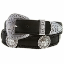 "Western Silver Cross Berry Conchos Leather Belt 1 1/2"" Wide"