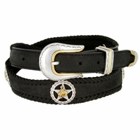 Western Texas Ranger Star Cowboy Concho Leather Belt - Black