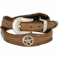 Western Texas Ranger Star Cowboy Concho Leather Belt - Brown