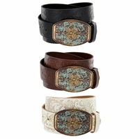 Western Tooled Full Grain Leather Jean Belt