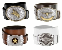 Western Trophy Buckle Leather Casual Belt ( Click here to see more Styles)