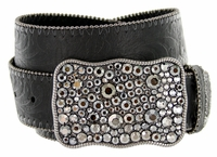 Western Women Rhinestone Buckle Embossed Genuine Leather Belt - Black