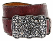 Western Women Rhinestone Buckle Embossed Genuine Leather Belt - Wine