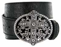 Western Women Rhinestone Cross Buckle Embossed Genuine Leather Belt - Black