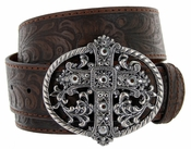 Western Women Rhinestone Cross Buckle Embossed Genuine Leather Belt - Brown