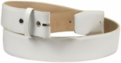 "White Smooth Leather Belt Strap 1 1/2"" wide"
